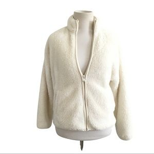 Forever 21 teddy coat faux fur zip up jacket small